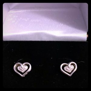 Diamond and Sterling Silver Heart Shaped Earrings